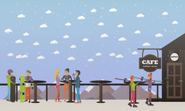 Vector illustration of cafe on mountain and visitors, flat style Stock Photo