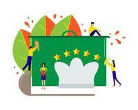 Vector illustration for cafe, restaurant or hotel. Little people Royalty Free Stock Images