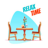 Vector illustration of cafe table with two chairs Royalty Free Stock Photo