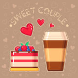 Vector illustration of cake and coffee cup Royalty Free Stock Image