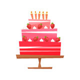 Vector illustration.Cake with cream, berries. vector illustration