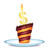 Fancy Dollar Cake. Vector illustration of cake with dollar symbol as candle Royalty Free Stock Photos