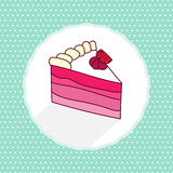 Vector illustration of cake piece in cartoon style Stock Image