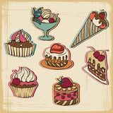Vector illustration of cakes in retro style Royalty Free Stock Photography