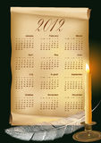 Vector illustration with calendar 2012. Old paper, candle, feather Royalty Free Illustration