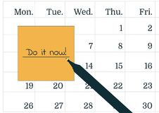 Vector illustration of a calendar, a pen and yellow post it note with the text Do it now. A reminder of the important appointment. Stock Photos