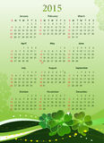 Vector illustration of 2015 calendar for St. Patrick's Day. Vector illustration of American 2015 calendar for St. Patrick's Day, starting from Sundays Stock Image