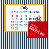 Vector illustration calendar for the 14th of July. Happy Bastille Day. EPS10 royalty free illustration
