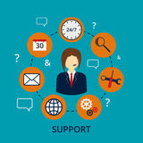 Vector illustration of a call center . A man in a jacket . Set o Royalty Free Stock Images