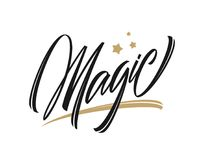 Vector illustration: Calligraphic handwritten type lettering of Magic with golden stars on white background.  Stock Images