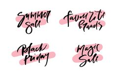 Vector illustration of calligraphy summer sale, favourite brands, black friday, magic sale, logotype, print, text for sell out, cl. Earance sale, closeout Stock Photo