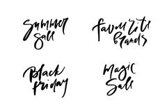 Vector illustration of calligraphy summer sale, favourite brands, black friday, magic sale, logotype, print, text for sell out, cl. Earance sale, closeout Royalty Free Stock Photos
