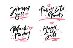 Vector illustration of calligraphy summer sale, favourite brands, black friday, magic sale, logotype, print, text for sell out. Clearance sale, closeout Royalty Free Stock Photos