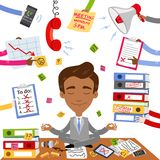 Vector illustration of a calm asian businessman sitting on his desk doing yoga with paperwork, stress and chaos surrounding him. Vector illustration of a calm vector illustration