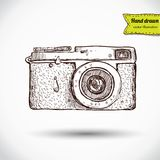 Vector illustration of camera hand draw. On vintage paper background, cute label Royalty Free Stock Photography