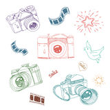 Vector illustration of camera and photography. Elements hand drawn set Royalty Free Stock Photo