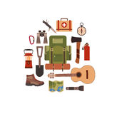 Vector illustration of camping concept. Royalty Free Stock Photo