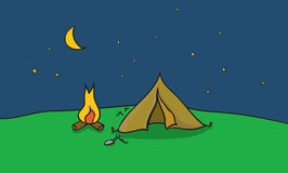 Vector illustration of camping place with tent and fire place. Outside camp at clear night sky. Scene with summer trip destination Stock Photos