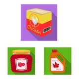 Vector design of can and food logo. Set of can and package vector icon for stock. Vector illustration of can and food icon. Collection of can and package stock royalty free illustration