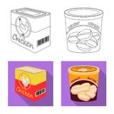 Vector illustration of can and food icon. Collection of can and package stock vector illustration. Isolated object of can and food symbol. Set of can and royalty free illustration