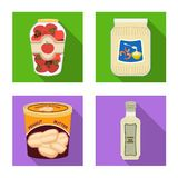 Vector illustration of can and food icon. Collection of can and package stock symbol for web. Isolated object of can and food symbol. Set of can and package vector illustration