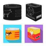 Vector illustration of can and food icon. Set of can and package stock vector illustration. Isolated object of can and food symbol. Collection of can and royalty free illustration
