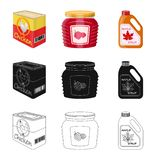Vector illustration of can and food icon. Set of can and package stock vector illustration. Isolated object of can and food symbol. Collection of can and stock illustration