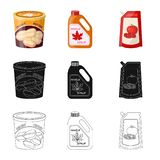 Vector illustration of can and food logo. Set of can and package stock vector illustration. Isolated object of can and food icon. Collection of can and package royalty free illustration