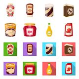 Vector illustration of can and food logo. Set of can and package vector icon for stock. Isolated object of can and food icon. Collection of can and package royalty free illustration