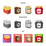 Vector design of can and food symbol. Set of can and package vector icon for stock. Vector illustration of can and food sign. Collection of can and package vector illustration