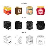 Vector illustration of can and food sign. Collection of can and package stock symbol for web. Isolated object of can and food logo. Set of can and package stock royalty free illustration