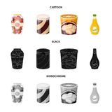Vector illustration of can and food sign. Set of can and package vector icon for stock. Isolated object of can and food logo. Collection of can and package vector illustration