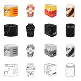 Vector illustration of can and food symbol. Collection of can and package vector icon for stock. Isolated object of can and food sign. Set of can and package vector illustration