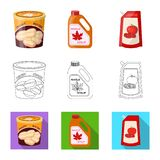 Vector illustration of can and food symbol. Collection of can and package stock vector illustration. Isolated object of can and food sign. Set of can and royalty free illustration