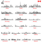 Vector illustration of Canadian city skylines in black and white tints color palette Stock Image