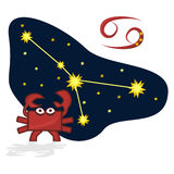 Vector illustration of Cancer in the form of a rectangle. Cartoon Zodiac signs. A schematic arrangement of stars in the constellation Cancer Stock Images