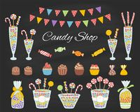 Vector illustration of candy shop, hand drawn doodle style. Vector illustration of candy shop with colorful sweets, candies in glass jars, lollipops, sweetmeats Royalty Free Stock Image
