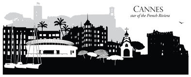 Vector illustration of Cannes France cityscape skyline. Vector illustration of Cannes, France, cityscape skyline in black and white silhouette Stock Photos