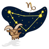 Vector illustration of the Capricornus with a rectangular face. Cartoon Zodiac signs.  A schematic arrangement of stars in the constellation Capricornus Stock Images