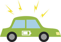Vector illustration of a car with battery icon. Royalty Free Stock Photography