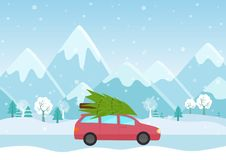 Vector Illustration of Car with a christmas tree on the roof on the mountains background. Royalty Free Stock Photo