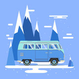 Vector illustration car with landscape. Background retro travel van Stock Images