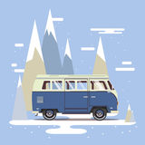 Vector illustration car with landscape. Background retro travel van Stock Photography