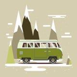 Vector illustration car with landscape. Background retro travel van Royalty Free Stock Photos