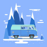 Vector illustration car with landscape. Background retro travel van Royalty Free Stock Photography