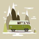 Vector illustration car with landscape. Background retro travel van Stock Image