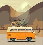 Vector illustration car with landscape. Background retro travel van Stock Photo