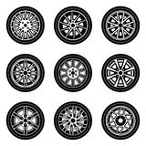 Set of various forms of car wheel and rims icons Royalty Free Stock Photos