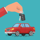Vector illustration of a car rental or sale. Hand holding car keys. Test drive. Automobile rental business. Colorful vector illustration of a car rental or sale Royalty Free Stock Photography