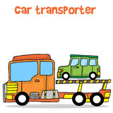 Vector illustration of car transporter. Collection stock Stock Photo